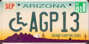 Arizona Grand Canyon License Plate Green Numbers on green white yellow with Purple Desert with wheelchair