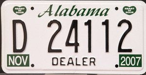 Alabama License Plate Dealer Black Numbers on White with 2 Green Heart of Dixie Emblems