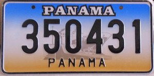 Panama License Plate black numbers on blue white gold with Cruise Ship
