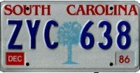 South Carolina Old Palm License Plate
