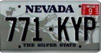 Nevada Navy on Silver License PlateNevada State License Plate blue numbers on silver with ram on mountain