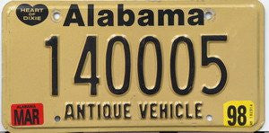 Alabama Antique Vehicle License Plate black numbers on tan with black heart