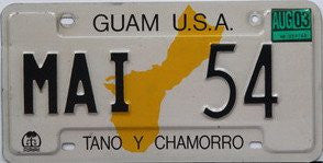 Guam License Plate black numbers on white with yellow map