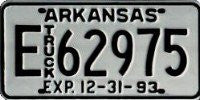 Arkansas Truck License Plate black numbers on white