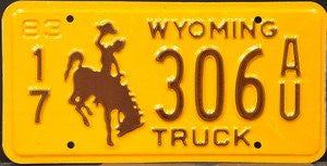 Wyoming Truck License Plate with brown Bucking Bronco on yellow