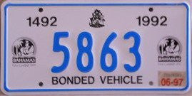 Bahamas 1492 - 1992 Bonded vehicle License Plate blue numbers on white