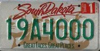 "South Dakota Green on white Great Faces License Plate"" """