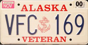 Alaska Veteran State License Plate blue numbers on white with Navy Insignia