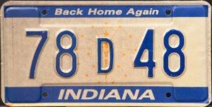 Indiana Back Home Again License Plate blue numbers on white and blue
