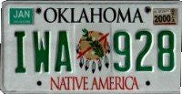 Oklahoma Native America Mandela License Plate green numbers on white
