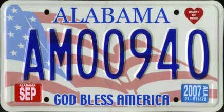 Alabama State License Plate God Bless America Embossed with Blue Numbers on American Flag