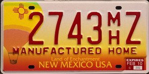 New Mexico Manufactured Home License Plate red numbers on white orange with Hot Air Balloon