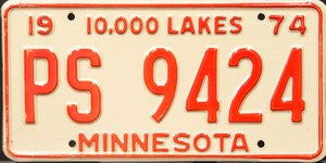 Minnesota 10000 Lakes license plate red numbers on white