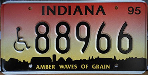 Indiana Waves of Grain License Plate with Wheelchair Black Numbers on Red Yellow Sunset with Farm