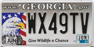 Georgia Give Wildlife a Chance License Plate black numbers on gray to white with Bald Eagle on Flag