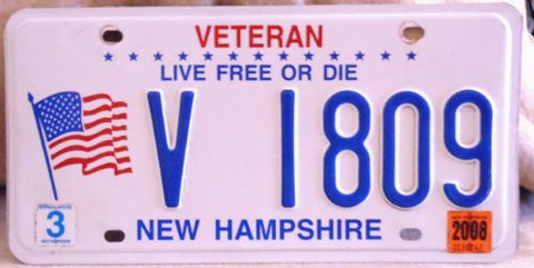 new hampshire veteran live free or die license platewhite with blue numbers american flag on left hand side