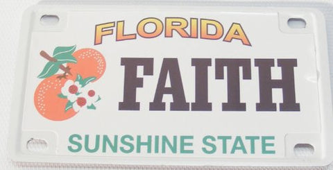 Faith Bicycle License Plate with Black Letters