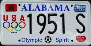Alabama Olympic Spirit License Plate black numbers on white with soccer ball and USA Olympic logo