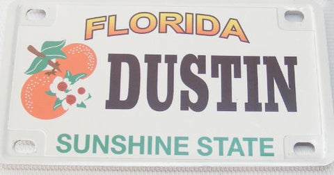 Dustin Bicycle License Plate with Black Leters