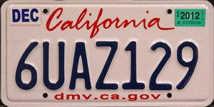 California DMV.CA.GOV license plate blue numbers on white