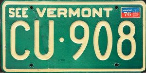 See Vermont license plate white numbers on green - debossed