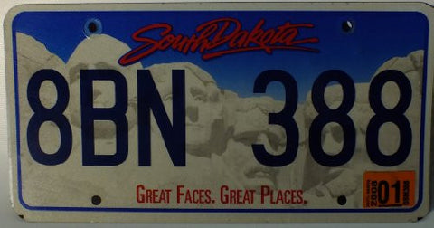 "South Dakota Great Faces. Great Places"" Non-Embossed License Plate"""