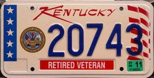 Kentucky Retired Veteran license plate blue numbers on white with stars stripes and D.O.A. emblem