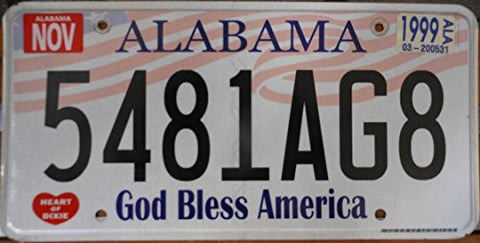 Alabama State License Plate with God Bless America and Black Letters on White Backround and American Flag
