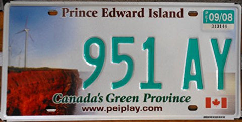 Canada License Plate Prince Edward Island Canadas Green Province Green Letters on White Backround with Wind Turbine