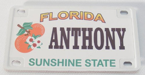 Anthony Bicycle License Plate with Black Letters