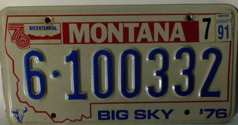 "Montana BIG SKY"" 1976 Bicentennial License Plate"""