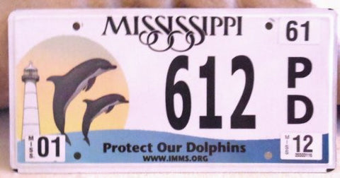 Mississippi Protect Our Dolphins Flat License Plate White Back Groud with Black Numbers Pic of Dolphin Lighthouse and a Moon on Left Hand Side of the Plate