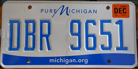 "Michigan State License Plate "" Pure Michigan"" with Blue Letters on White Backround"