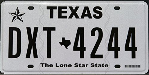texas state license plate black letters on white with the lone star state logo