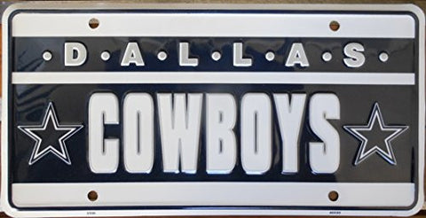 Dallas Cowboys License Plate White Letters on Black and White Backround