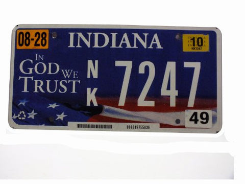 Indiana In God We Trust license plate silver numbers on blue with American flag flat non embossed