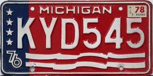 Michigan 76 Bicentennial License Plate white numbers on red with white stars on blue