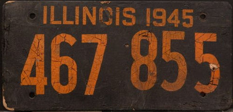 Illinois 1945 Metal Shortage Made of Soybean License Plate