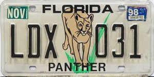 Florida Panther license plate black numbers on white with panther standing in grass
