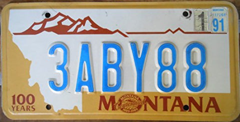 Montana State License Plate 100 Years Centennial Blue Letters On Creme With Brown Mountain