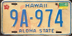 Hawaii Aloha State 1980 King Kamehameha License Plate blue numbers on cream