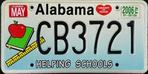 Alabama Helping Schools License Plate black numbers on white to blue flat non-embossed
