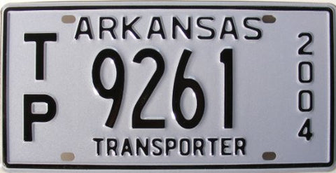 Arkansas Transporter License Plate black Numbers on white