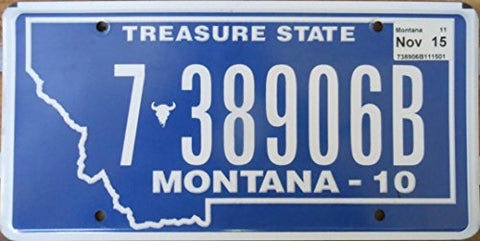 Montana Truck State License Plate Cream Letters on Blue 1975