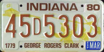 "Indiana State License Plate With"" George Rogers Clark"" and Brown Letters on Cream Backround"