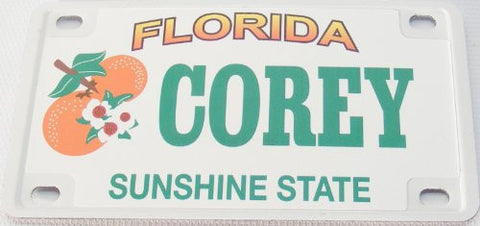 Corey Bicycle License Plate with Green Letters