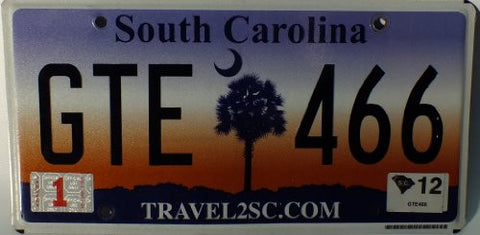 "South Carolina, Non-Embossed Flat License Plate ""travel2sc.com"""