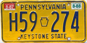Pennsylvania Keystone State License Plate blue numbers on yellow