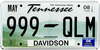 Tennessee State License Plate with Black Letters on White and Green