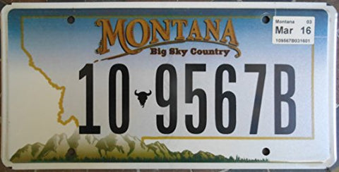 "Montana Big Sky Country"" Western Style Text Non-Embossed License Plate"""